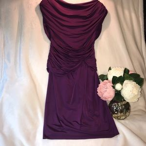 STUNNING/UNIQUE Regal Purple Ruched Cocktail Dress